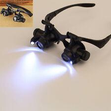 20X 10X 15X 25X LED Magnifier Double Eye Glasses Loupe Lens Jewel Watch Repair P