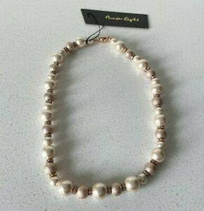 Phase Eight Rose Gold 'Blythe' Necklace Pearl Diamante Magnetic Clasp RRP £29
