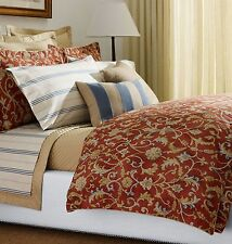 NW RALPH LAUREN ISLA MENORCA Scroll RED KING Size DUVET Comforter COVER SHAM SET