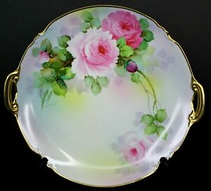 Vintage Japan Hand Painted Pink Roses Signed by K. Saito 2 Handled Serving Tray