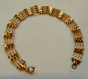 9ct Gold Gate Bracelet Hallmarked 7.25 Inch Length