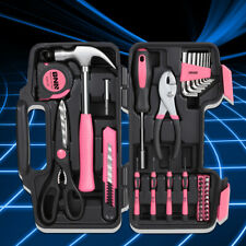 Pink Portable Household Toolbox 39-Piece General Home Repair Hand Tool Package