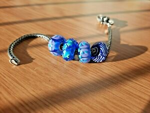Authentic Trollbeads Blue Bead Set of Four