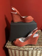731b0e74757b BCBG Red Suede Peep Toe Wedge Sling Back Sandals Size 9 B originally  89  Classic