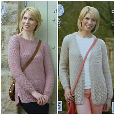 KNITTING PATTERN Ladies Long Sleeve Textured Jumper & Cardigan DK KC 4266