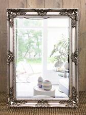Decorative Ornate Mirror 90cm Tall Antique Silver Wood Frame