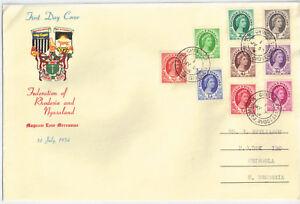 Rhodesia & Nyasaland 1954 Definitives 1/2d - 1s [9] FDC Chingola 1 Jul