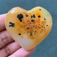 57g Natural Aquatic Plants Heart Agate Polished Love Quartz Crystal CX0120