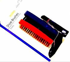 PACK OF 2  Wood Handle SHOE BRUSHES Boot Polishing Waxing  Brush black & red