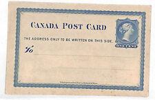 VV123 1860s Canada QV 1c Postcard Unused {samwells-covers}