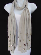 Women Gray Scarf Fashion Necklace Soft Fabric Multi Metal Spikes Skulls Pendants