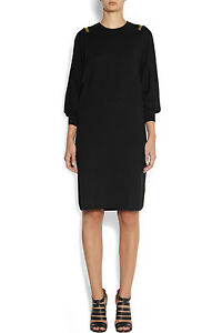 GIVENCHY Black Wool Sweater Jumper Dress Gold Bars