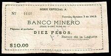 Banco Minero 10 Pesos O/P FALSO 10.07.1913, M1053b / MI-COA-69 Fine