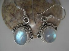 Rainbow Moonstone Silver Earrings ~ Awesome blue fire!