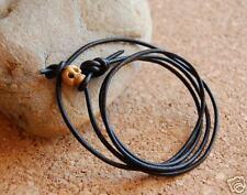 Black Leather Surf Wrap Bracelet/Cuff Wristband/Anklet Bone Skull