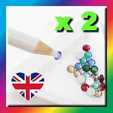 2 x WHITE WAX PICKER PENCILS - RHINESTONES GEMS CRAFTS CRYSTAL NAIL ART PENS