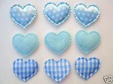 60 Mix Fabric Hearts Applique/Felt/Polka Dot Satin/Gingham/Baby/Trim H78-Blue