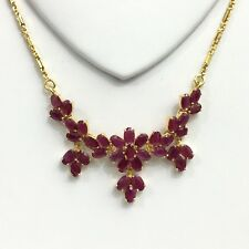 14k Solid Yellow Gold Flower Cluster Pendant Necklace/ Chain, Natural Ruby.