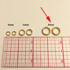 25pc 8mm Heavy Open Jump Rings 14K Gold Filled 8mm Snap Ring 16ga (j-8mmGF-25)