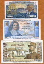 SET Saint Pierre and Miquelon, 5;10;20 Francs, ND (1950), P-22-23-24, UNC