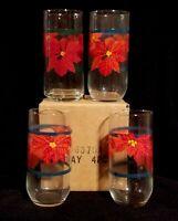 Set Of Four Vintage Highball Christmas Holiday Tumbler Glasses w Red Poinsettias
