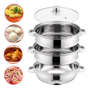 LARGE 3 TIER INDUCTION STAINLESS STEEL 28CM STEAMER POT PAN COOKER SET GLASS LID