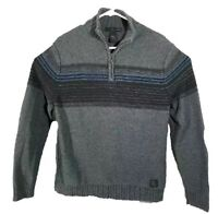 Calvin Klein Sweater 1/4 Zip Men's Large Pullover Gray Stripes Dressy Casual