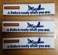 "Vintage Plastic Delta Airline 7"" Ruler Bookmark (Lot of 3) New Old Stock"