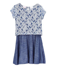 NWT Nannette Girls Floral Lace Overlay Blue Short Sleeve Dress 4 5