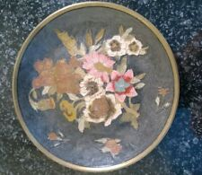 Vintage Wall Hanging Decorative Brass Plate with Flower Design Made In India