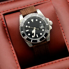 40MM black sterile dial sapphire glass SUB men's watch automatic nylon strap