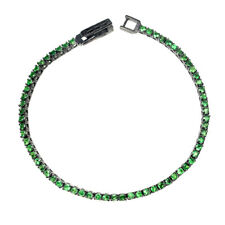 Unheated Round Green Tsavorite Garnet 2mm 925 Sterling Silver Bracelet 7.5inches