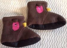 Slippers Non Slip Botton Brown Bird Womans Size 5-6