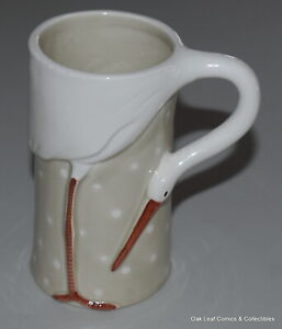 1978 FITZ & FLOYD Mug Cup The Stork Club Ceramic 3D Figural Vintage Very nice!
