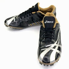 Asics Mens 10 Soccer Cleats Track Spikes Shoes Black Silver GY700 EU 43.5