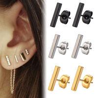 Gold Silver Black Minimalist Titanium Mens Ladies Bar Stick Stud Earrings Gift