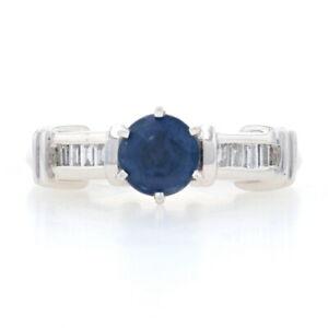 NEW 1.57ctw Round Cut Sapphire & Diamond Ring - 900 Platinum & 14k White Gold