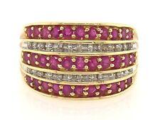 14k Yellow Gold Diamond & Ruby 4 Layered Ring Size 7- 1.50ct Ruby & 0.30 Diamond