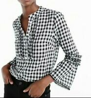 J.Crew Size 4P 4 Petite Shirt Black White Plaid Gingham Embroidered Bell Sleeve