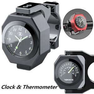 Black Metal Motorcycle Handlebar Clock Watch Analogue Thermometer Temperature 1x