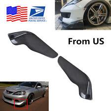 Pair Carbon Fiber Style Winglet Type ABS Car Front Bumper Splitter Diffuser Lip