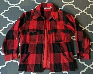 Vintage WOOLRICH Size M Red Black Plaid Wool Hunting Coat Jacket *Distressed*
