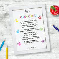 Personalised Thank You Child Minder Pre School Nursery Teacher Print Frame Gift