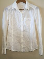 CASLON White Solid Cotton Casual Button Down Long Sleeve Shirt Size XS