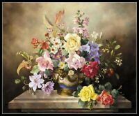 Spring Flowers in a Cache pot - Chart Counted Cross Stitch Pattern Needlework