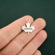 4 Canada Charms Antique Silver Tone 2 Sided Maple Leaf - SC7077
