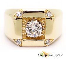 14K Yellow Gold Plated 1.10 Ct Mens  Round Diamond Wedding Engagement Pinky Ring