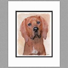 Redbone Coonhound Dog Original Art Print 8x10 Matted to 11x14