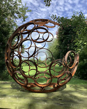 🇬🇧 METAL RUSTY GARDEN MODERN ART DECORATIVE OPEN SPHERE ORNAMENT STEEL BALL 🍂