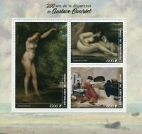 Art Stamps 2019 MNH Gustave Courbet Nudes Nude Paintings 3v M/S
